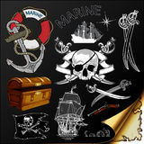 Marine theme, icons set Stock Photography