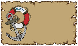 Marine theme, old parchment with anchor. And lifebuoy, this illustration may be useful as designer work Stock Image