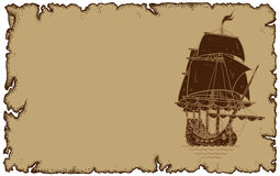 Marine theme, old parchment with sailboat Royalty Free Stock Photography
