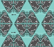 Marine Theme Pattern Vector. Abyss Fish. Vector Seamless Pattern With Doodle Tribal Fishes And Arrows. Stock Photos