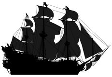 Marine theme, silhouette sailboat Royalty Free Stock Photos