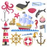 Marine Theme Traditional Sea Elements op Wit vector illustratie