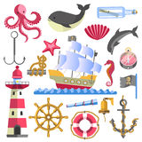 Marine Theme Traditional Sea Elements on White Stock Photography