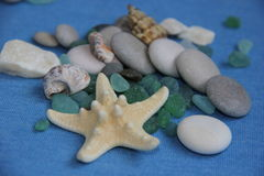 Marine theme. Variations with stones gems starfish can be used as a screensaver Royalty Free Stock Images