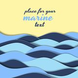Marine themed background of blue waves. Marine themed background of blue paper ocean waves on a golden seashore with copy space for your text in square format vector illustration