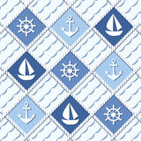 Marine themed seamless pattern with anchors. Marine theme. Blue sea seamless pattern Vector Illustration