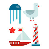 Marine themed set of isolated cartoon minimalistic illustrations. Big blue jellyfish, funny seagull, red starfish, small sailboat with flag and tall striped Stock Photos