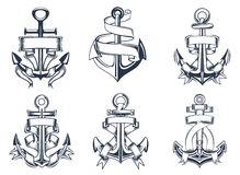 Marine Themed Ships Anchor Icons With Ribbons Stock Image