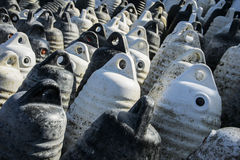 Marine themes, white buoys on the shore in the winter. Close up Royalty Free Stock Images