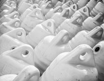 Marine themes, white buoys on the shore in the winter. Stock Photos
