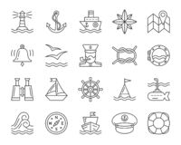 Marine simple black line icons vector set. Marine thin line icon set. Outline web sign kit of nautical. Sea linear icons includes anchor, knot, wheel, rose wind stock illustration