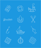 Marine thin line icons on blue background Stock Images