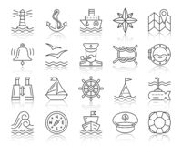 Marine simple black line icons vector set royalty free illustration