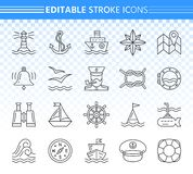 Marine simple black line icons vector set vector illustration