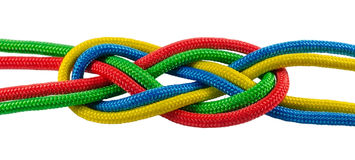 Marine tie from colorful ropes royalty free stock photos