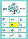 Marine tree. Design calendar 2017. Funny foxes. Design calendar 2017 Vector illustration Stock Illustration