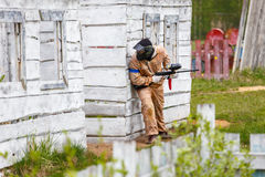 Marine trooper on tactical military training. Outdoors Stock Photography