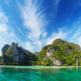 Marine tropical landscape with limestone cliffs. Thailand Royalty Free Stock Images