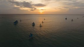 Beautiful sunset over sea, aerial view. Boracay island Philippines. Marine tropical sunset over the sea. Aerial view: Sunset over the sea in the background stock video footage