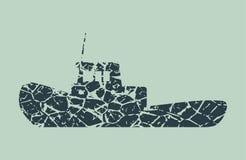 Marine tug icon. Marine tug monochrome icon. Grunge cracked texture Stock Image