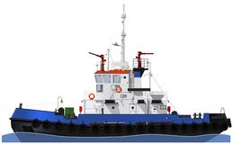 The marine tugboat with two water cannons Stock Photo