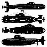 marine Un ensemble de sous-marins de chemins Illustration noire et blanche d'un fond blanc Photographie stock libre de droits