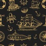 Marine- und See- oder des Meeres, Ozean Embleme Nahtloses Muster Satz der gravierten Weinlese, Hand gezeichnet, alt, Aufkleber od Lizenzfreie Stockbilder