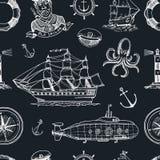 Marine- und See- oder des Meeres, Ozean Embleme Nahtloses Muster Satz der gravierten Weinlese, Hand gezeichnet, alt, Aufkleber od Stockfoto