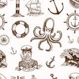 Marine- und See- oder des Meeres, Ozean Embleme Nahtloses Muster Satz der gravierten Weinlese, Hand gezeichnet, alt, Aufkleber od Lizenzfreie Stockfotos