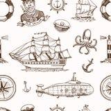 Marine- und See- oder des Meeres, Ozean Embleme Nahtloses Muster Satz der gravierten Weinlese, Hand gezeichnet, alt, Aufkleber od Lizenzfreie Stockfotografie