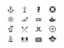 Marine- und Seeikonen Lizenzfreies Stockfoto