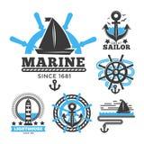 Marine- und Seelogoschablonen oder heraldische Symbole lizenzfreie abbildung