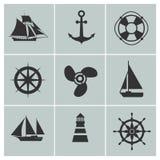 Marine- und Versandikonen Boot, Schiff oder Yacht, Ankerlebenbojenvektorschattenbild unterzeichnet stock abbildung