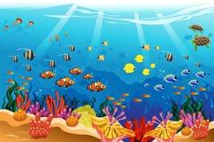 Marine underwater scene. A vector illustration of marine underwater scene stock illustration