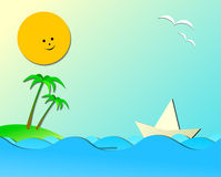 Marine vacation theme composition with dedicated room for your t Royalty Free Stock Images