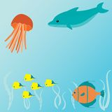 Vector card with sea creatures vector illustration