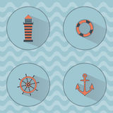 Marine vector icons with shadows Royalty Free Stock Photography