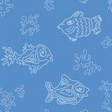 Marine Vector Pattern inconsútil con los pescados Imagenes de archivo