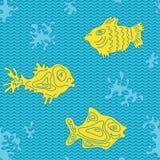 Marine Vector Pattern inconsútil con los pescados Fotografía de archivo libre de regalías
