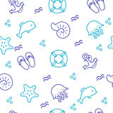 Marine vector seamless pattern. Contour seashells and starfish, vector. Background of blue and turquoise beach drawing objects by hand. Seamless pattern. vector Royalty Free Stock Image