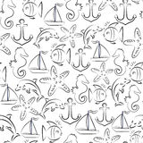 Marine vector seamless. Pattern. Fish and starfish, ship and anchor Royalty Free Stock Photography