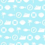 Marine Vector Seamless Pattern. Vector Seamless Pattern with Marine Illustrations. Travel Background in blue color Royalty Free Stock Images