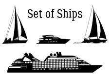 Marine Vehicles Silhouettes Royalty Free Stock Image