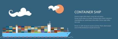 Marine Vessel Banner industrielle illustration de vecteur