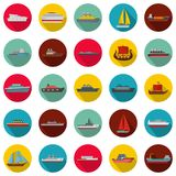 Marine vessels types icons set, flat style. Marine vessels types icons set. Flat illustration of 25 marine vessel type vector icons circle isolated on white Royalty Free Stock Image