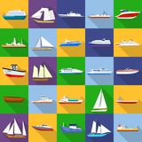 Marine vessels types icons set, flat style. Marine vessels types icons set. Flat illustration of 25 marine vessel type vector icons for web Royalty Free Stock Photo