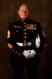 Marine Veteran. Vertical image of an older Marine Veteran in full dress uniform royalty free stock photo