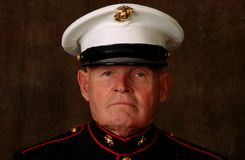 Marine Veteran. Close-up of an old Marine Veteran in dress uniform stock photography