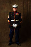 Marine Veteran. Close-up of an old Marine Veteran in dress uniform royalty free stock photos