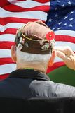 Marine Veteran Saluting in front of flag royalty free stock photos
